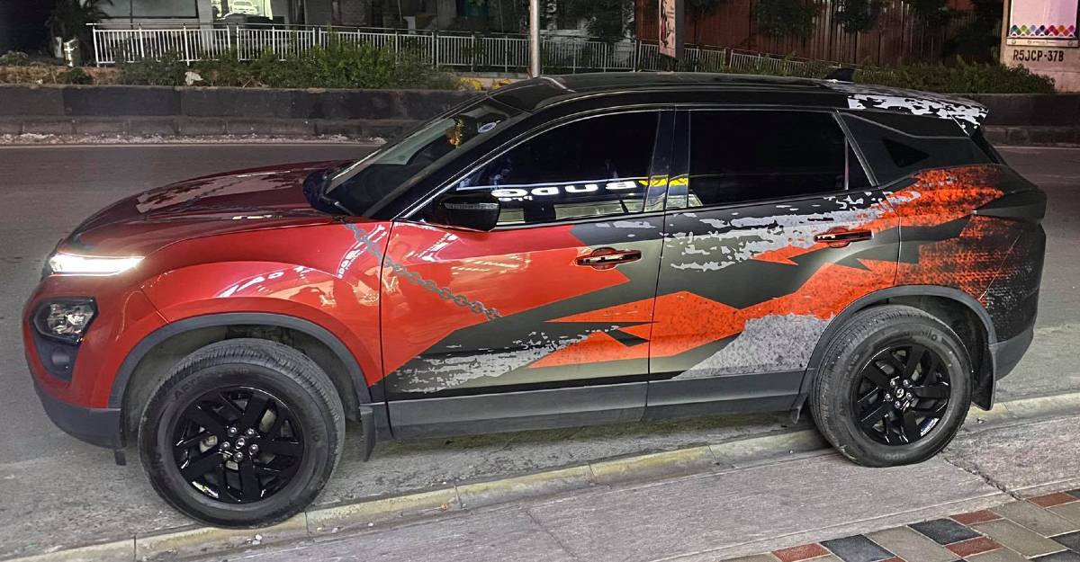 Tata Harrier wrapped for Rs. 40,000: Looks WICKED [Video]