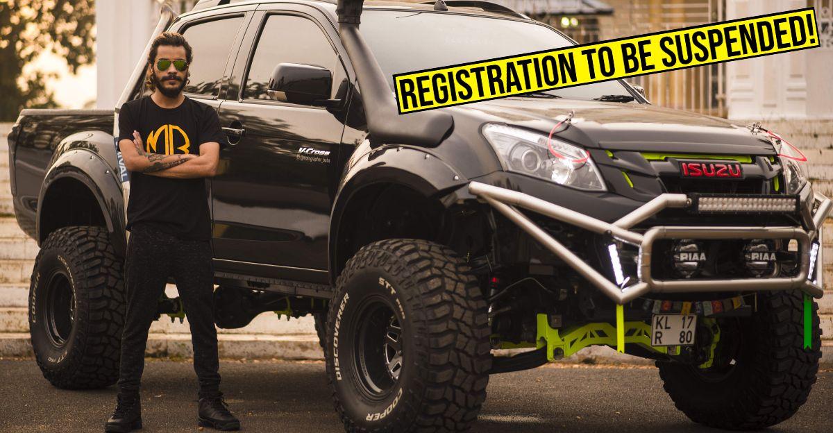 Kerala MVD sends 'registration suspension notice' to modified Isuzu V-Cross owner
