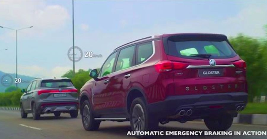 Watch MG Gloster luxury SUV's automatic emergency braking in action on Video