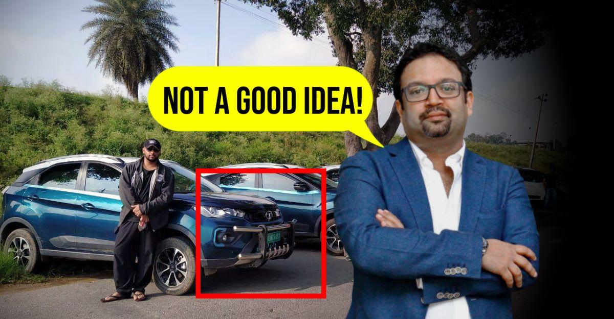 Nexon EV owner fits big bullbar: Tata's Chief Designer disapproves!