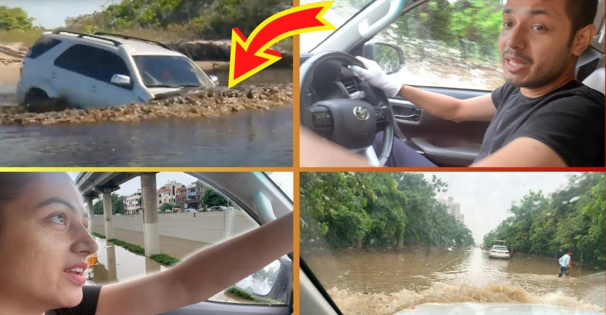 STUCK Audi Q3 towed by tractor: Toyota Fortuner swims through deep flood waters [Video]