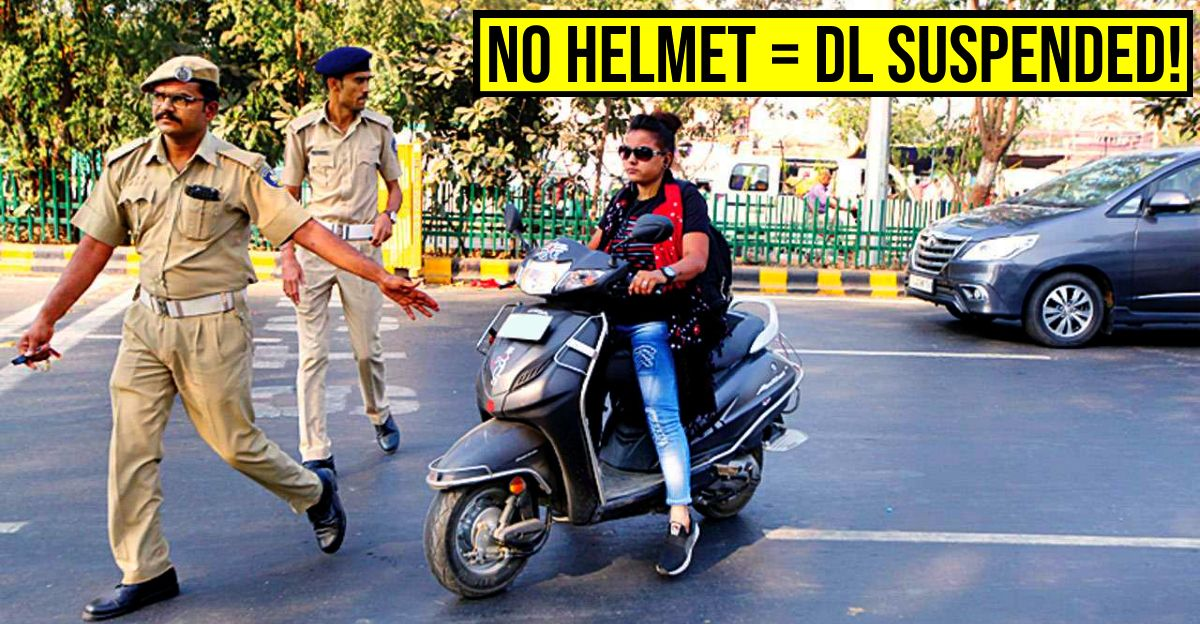 Riding a two wheeler without helmet? Your license will be suspended for 3 months!