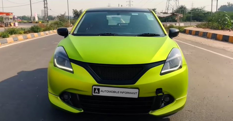 India's first Maruti Baleno with a lime-green wrap on video