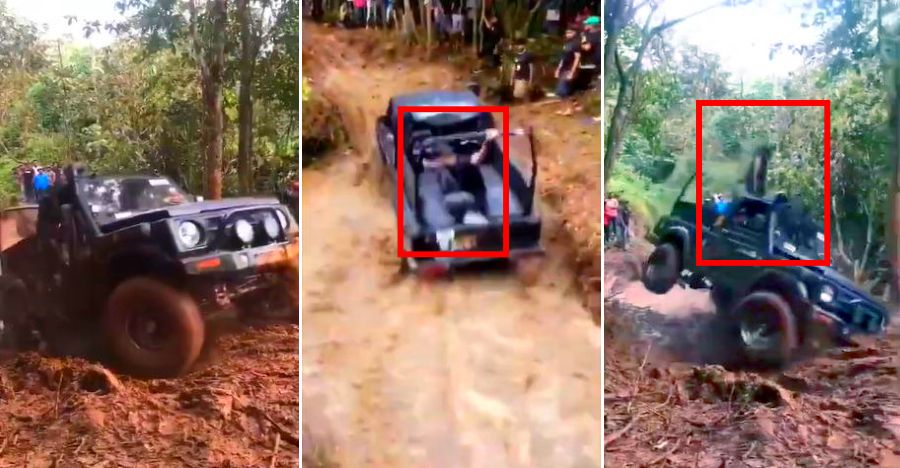 Off-roading gone wrong with man in Maruti Gypsy thrown up in the air [Video]