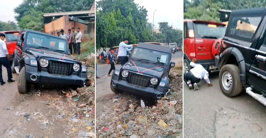 New Mahindra Thar stuck in garbage: NuvoSport pulls it out [Video]