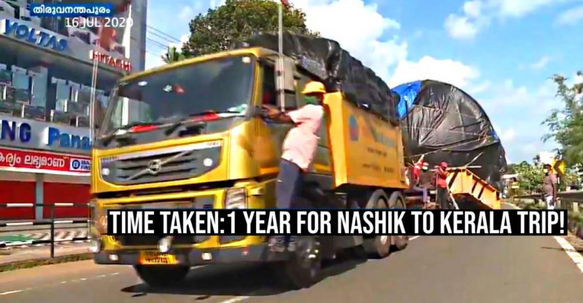 74-wheel truck took 1 year to reach Kerala from Maharashtra