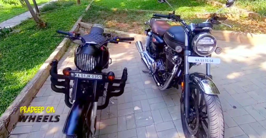 Honda CB350 H'Ness & Royal Enfield Classic 350 in a comparison video