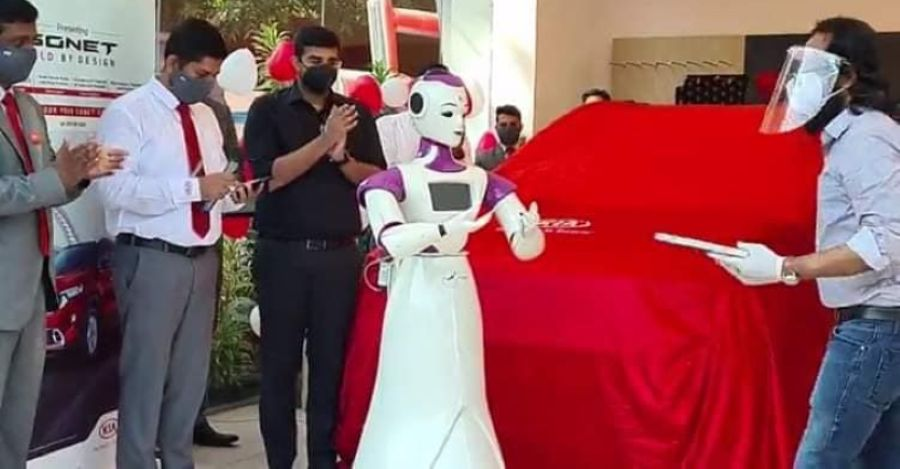 Kia Sonet compact SUV delivered by a robot in Kerala, India