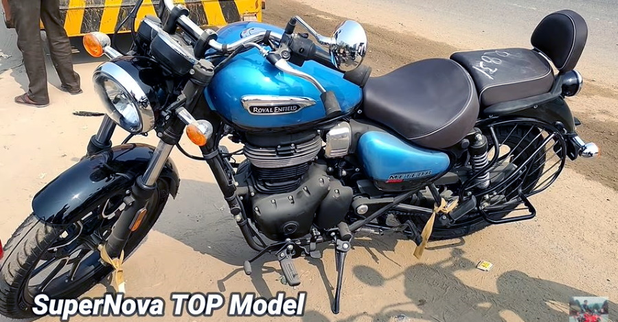 On Video: Check out the Royal Enfield Meteor 350 cruiser motorcycle in Blue, Red & Matte Black