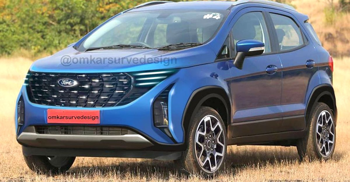 India-bound 2022 Ecosport rendered with Ford's new design language