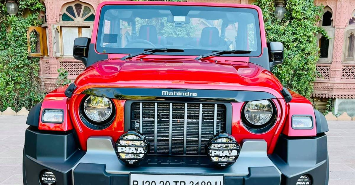 Mahindra Thar Soft-Top convertible with aftermarket accessories looks loaded