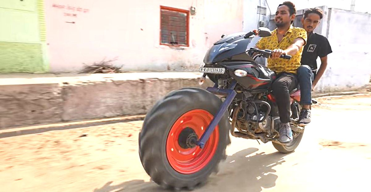 India's first tractor tyred Bajaj Pulsar is absolute INSANITY