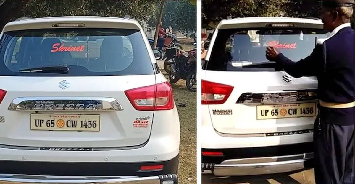 Govt official FINED Rs. 5,000 for 'surname sticker' on SUV