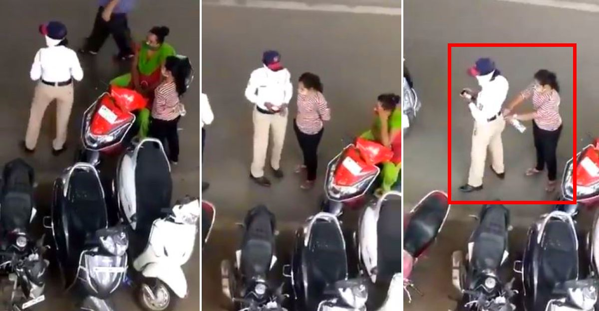 Traffic police officer caught on camera taking a bribe in a unique way