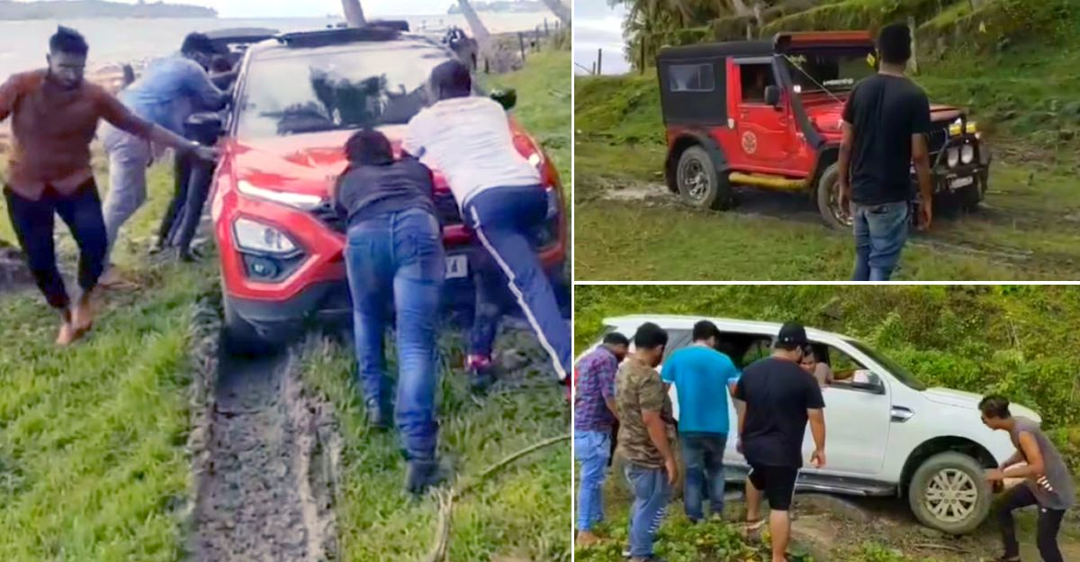 Ford Endeavour, Tata Harrier and Mahindra Thar tackle off road obstacles