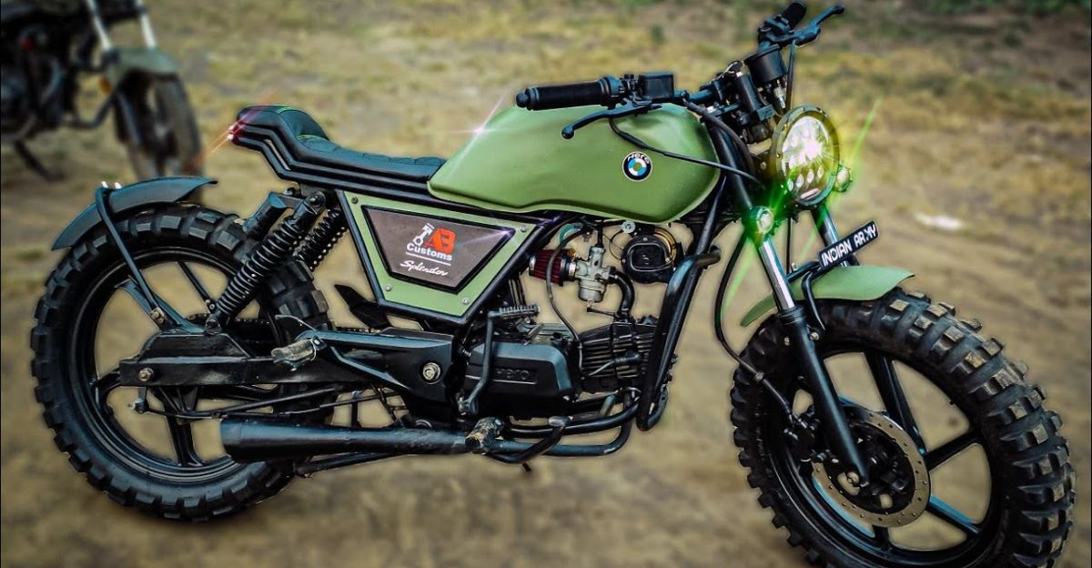 Hero Splendor modified into a scrambler motorcycle looks beautiful