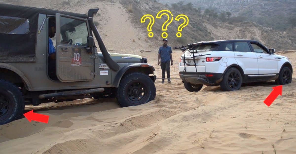 Mahindra Thar rescues Range Rover Evoque stuck in sand