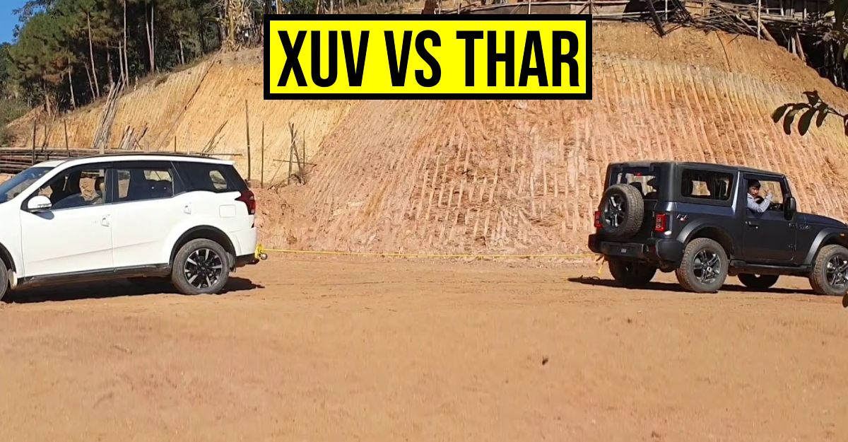 2020 Mahindra Thar 4X4 takes on the Mahindra XUV500 AWD in a tug-of-war