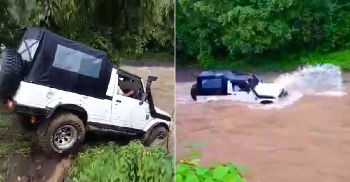 Maruti Suzuki Gypsy attempting to cross a fast flowing river nearly gets swept away