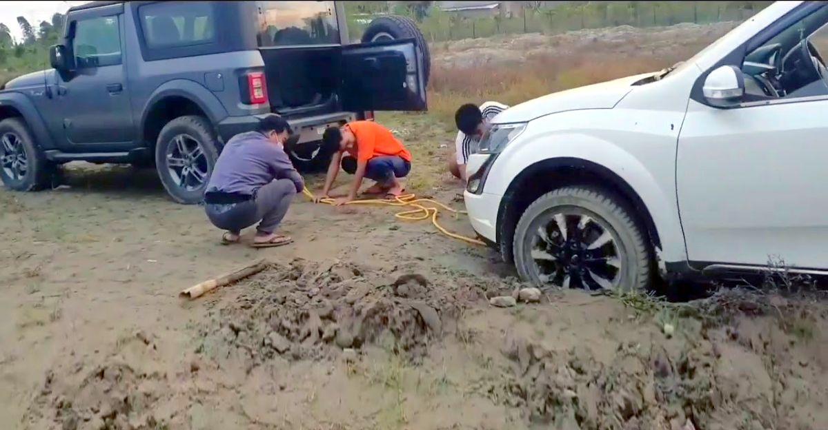 All-new Mahindra Thar rescues stuck XUV500 AWD