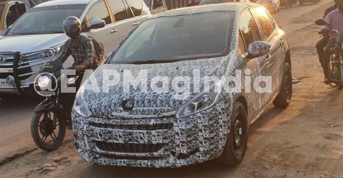 Peugeot 208 premium hatchback spied testing in India