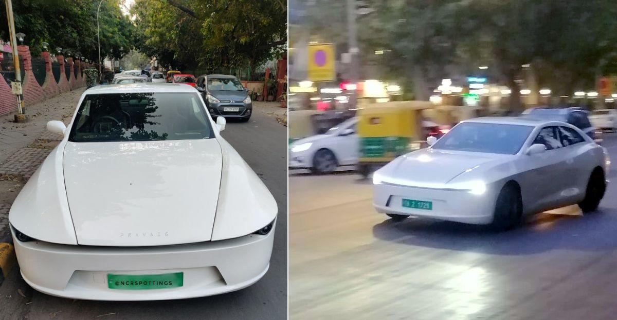 Pravaig Extinction Mk1 electric luxury sedan spotted on Indian roads