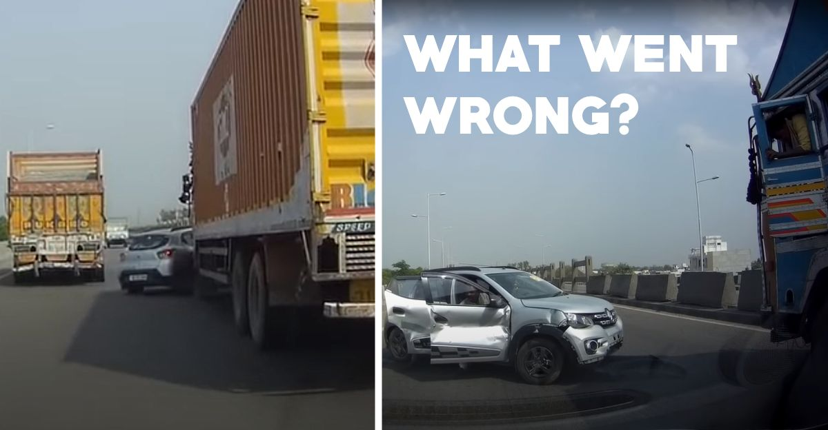 Renault Kwid has a narrow miss after getting hit by a Tata truck on an Indian highway