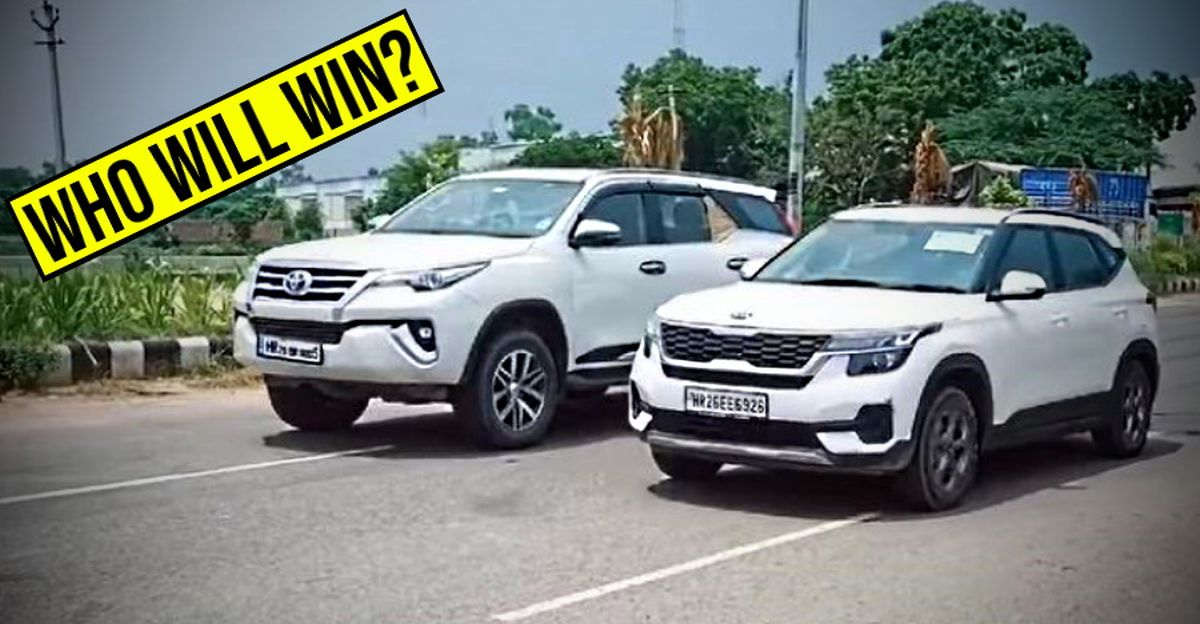 Kia Seltos compact SUV takes on the Toyota Fortuner luxury SUV in a Classic Drag Race