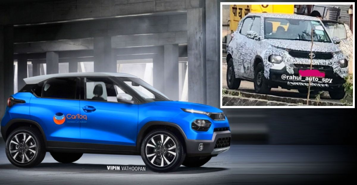 Upcoming Tata Hornbill HBX micro SUV front and rear in new spy shots
