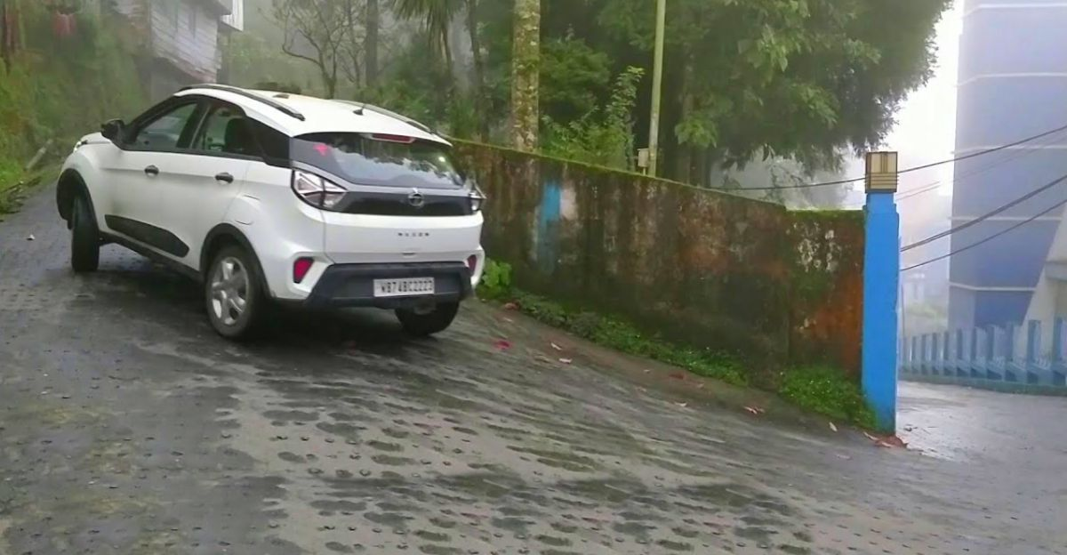 Tata Nexon climbing up a slippery road shows why ESP is so important
