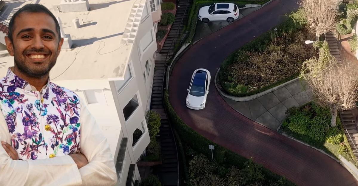 Fully Self Driving Tesla handles a winding road