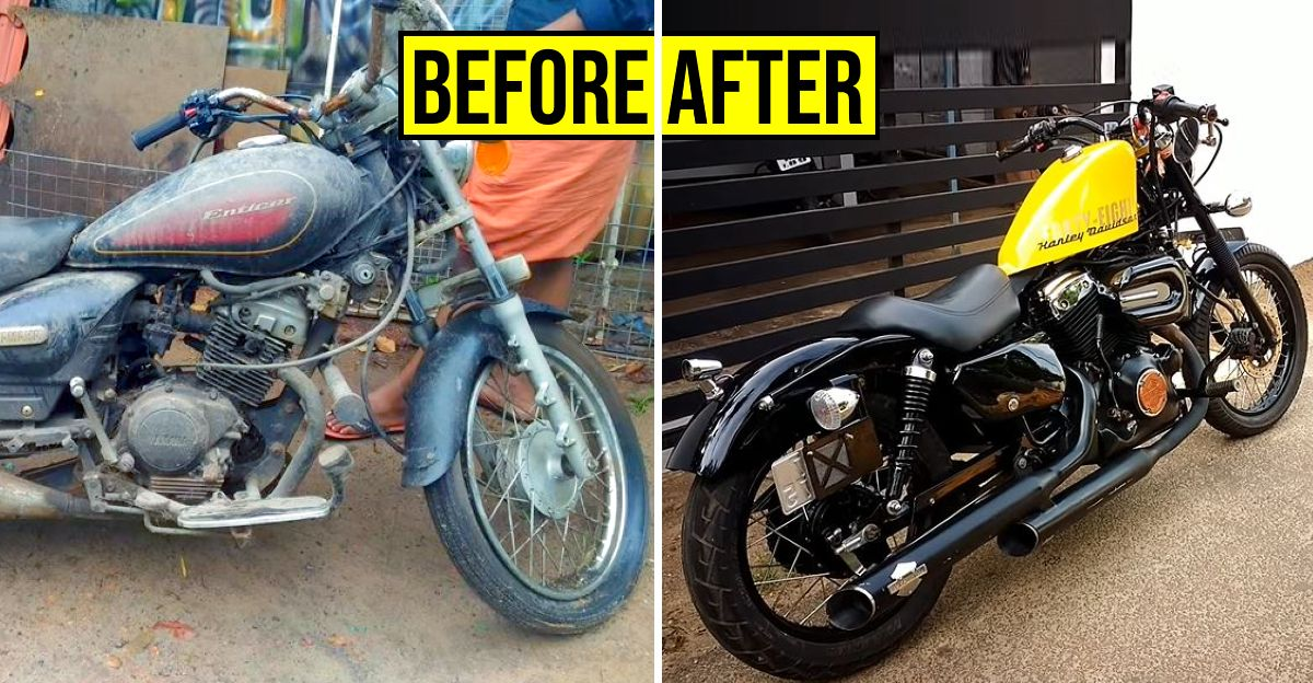 125cc Yamaha Enticer transformed into a Harley Davidson Forty-Eight