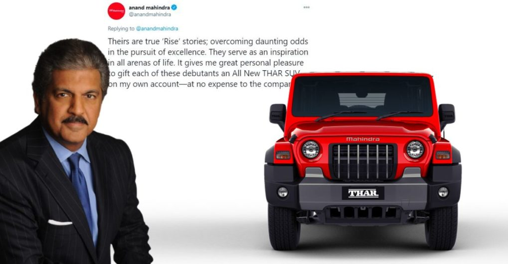 Anand Mahindra gifts all-new Thar SUVs to 6 young Indian cricketers - CarToq.com