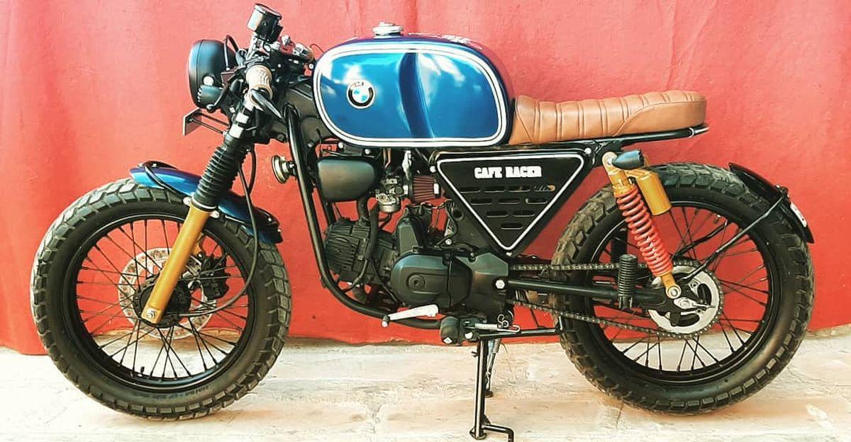 This BMW R80 retro cafe racer motorcycle is actually a Hero Splendor