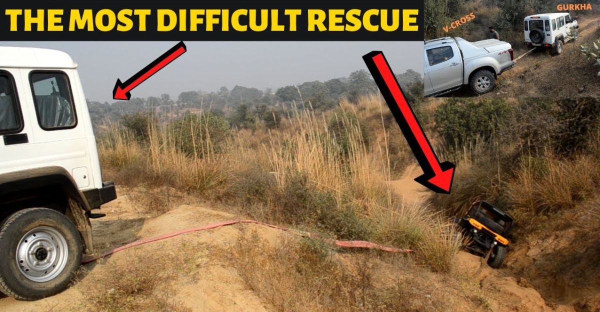 Isuzu V-Cross & Force Gurkha RESCUES Mahindra Jeep that gets stuck in a very tricky place