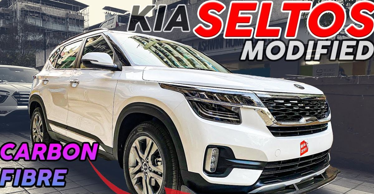 Kia Seltos HTE and HTX trim SUVs modified with aftermarket accessories look neat