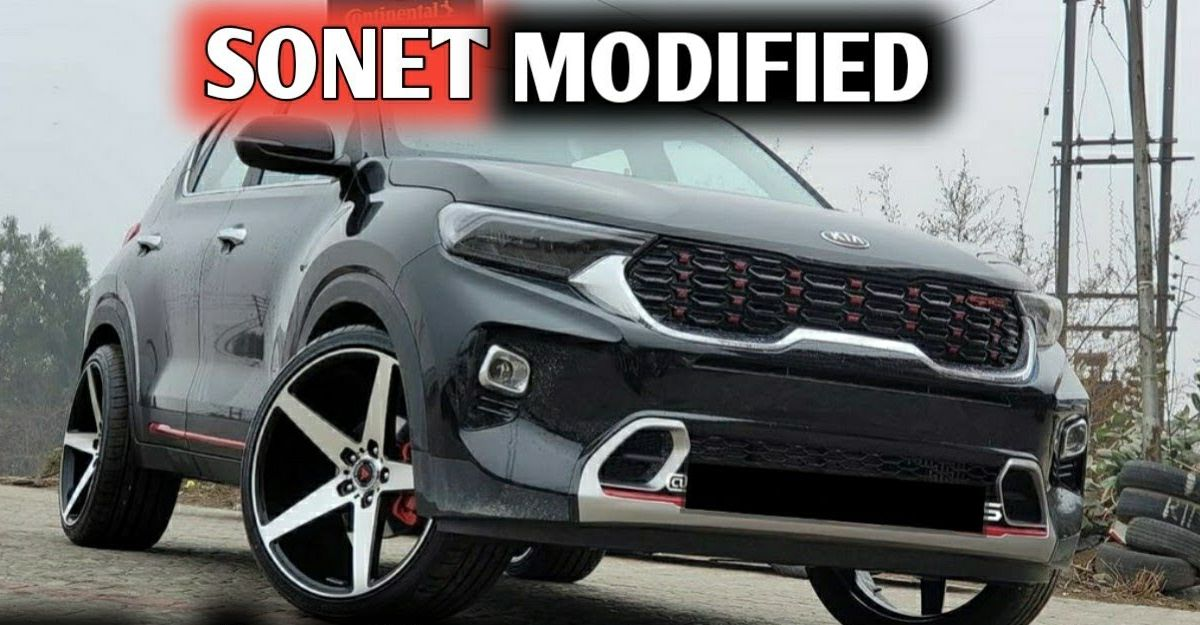 India's first modified Kia Sonet with 20 inch alloy wheels looks RAD