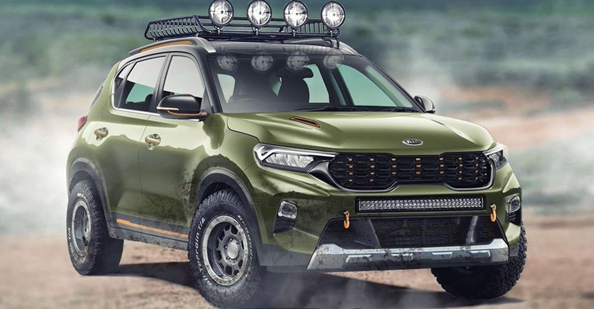 Kia Sonet X-Line off-road SUV rendered