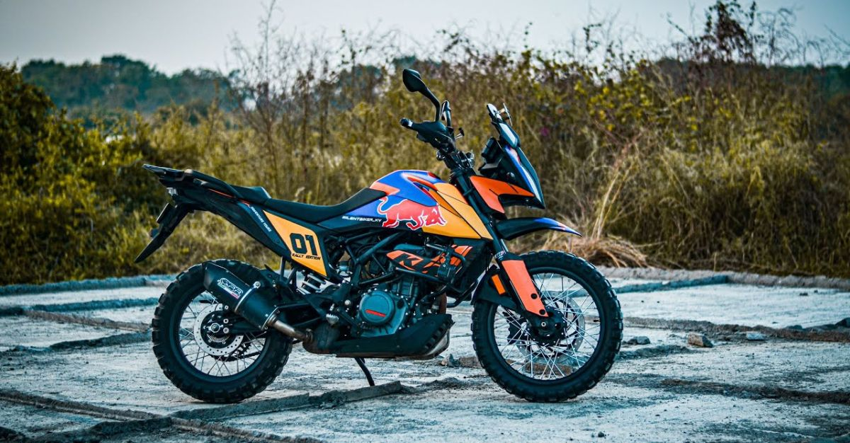 KTM Adventure 390 motorcycle modified with spoke wheels looks ready for adventure