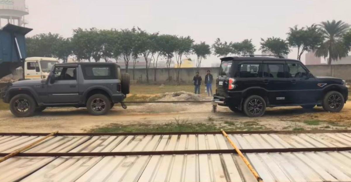 2020 Mahindra Thar vs Mahindra Scorpio & Mitsubishi Pajero in a tug of war