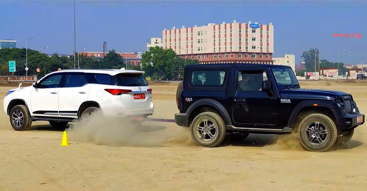 New Mahindra Thar Takes On Toyota Fortuner 4x4 In A Classic Tug Of War