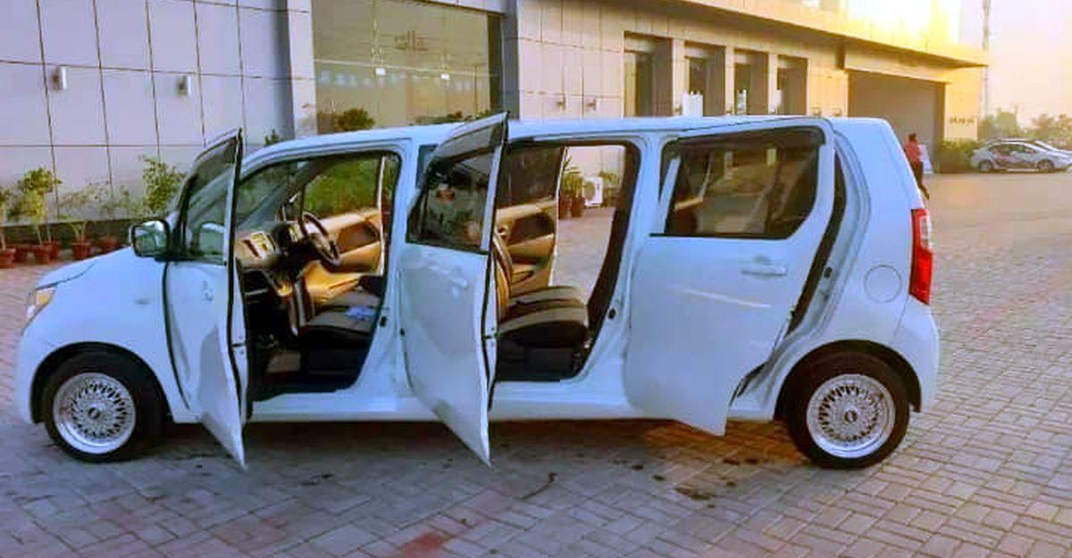 Maruti Suzuki WagonR limousine with 6 doors can seat 7 people