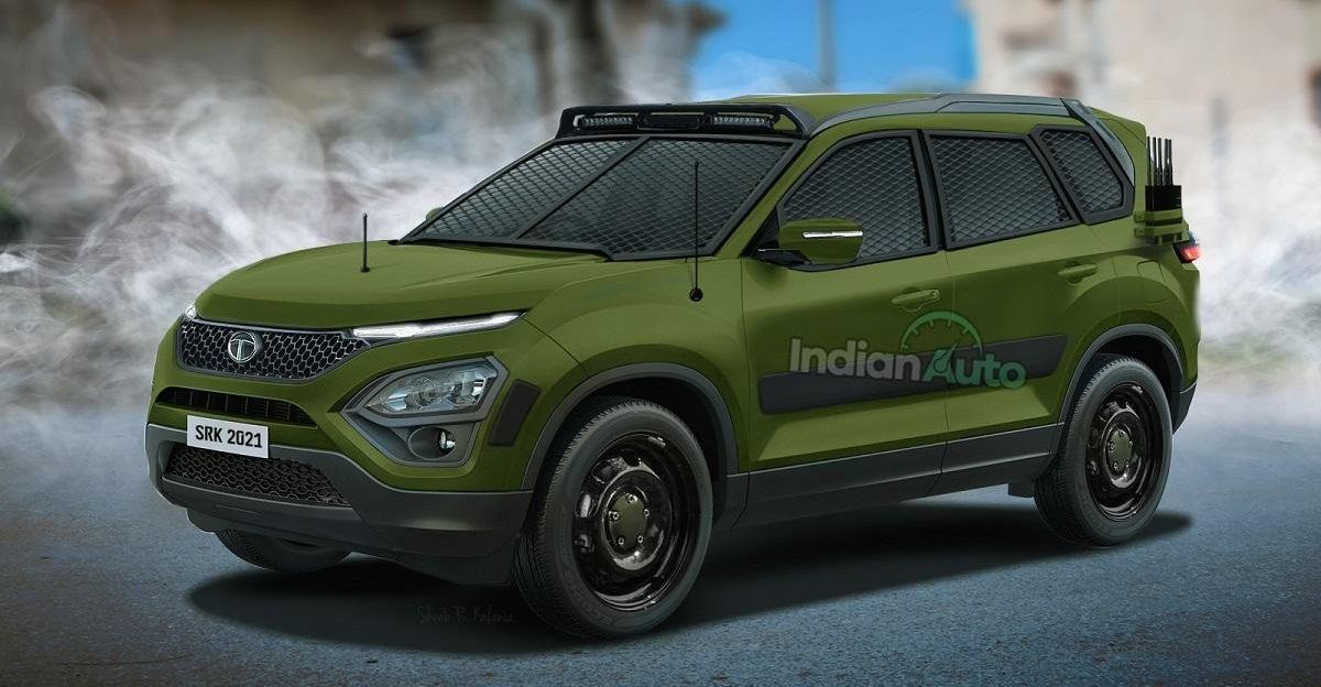 All-new Tata Safari SUV rendered in Army-spec