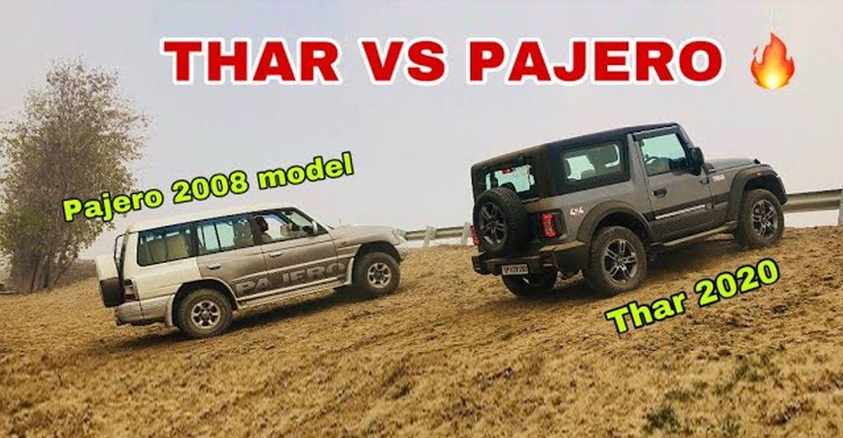 All New Mahindra Thar & Mitsubishi Pajero SFX in an off-road comparison video