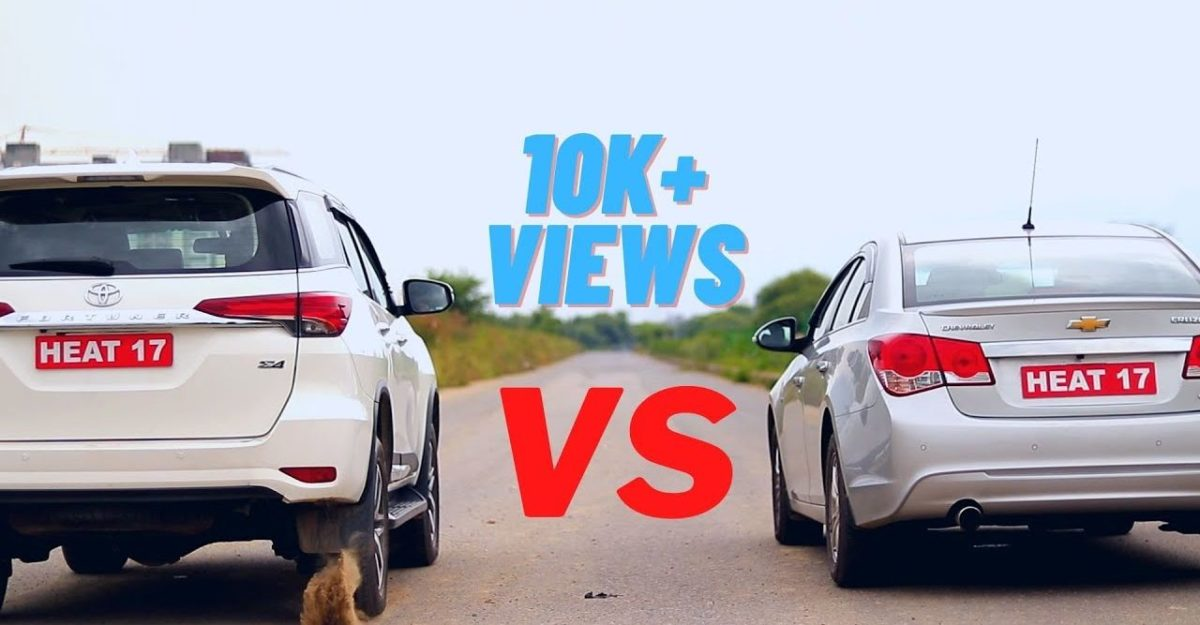 Toyota Fortuner Diesel takes on the Chevrolet Cruze in a drag race