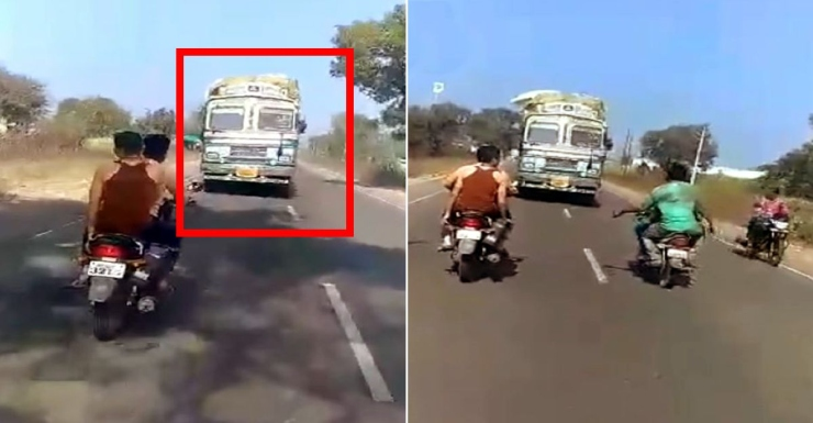 Indian truck driver drives for 3 Kms in reverse to prevent crash after brakes failed
