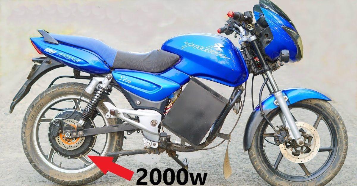 Old Bajaj Pulsar motorcycle converted into an electric bike