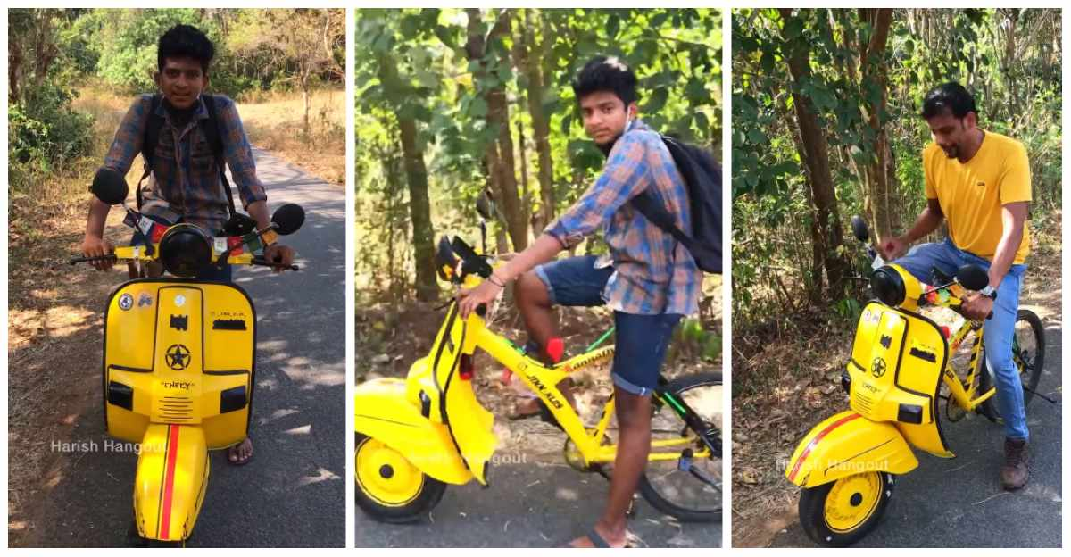 Bajaj Chetak in front, cycle in the back: 15 year old modifies cycle to travel India