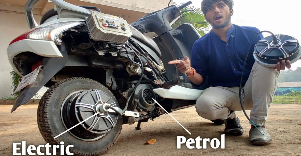 Watch how a Honda Activa is converted into a Petrol-Electric Hybrid scooter