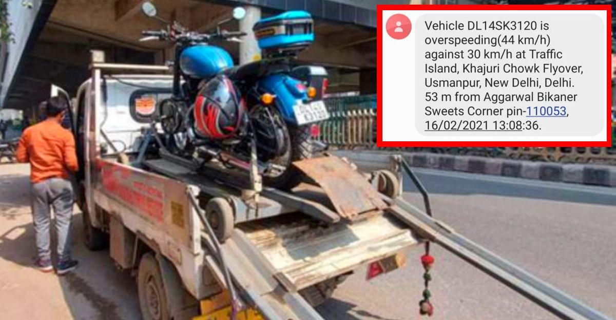 Jawa 42 being transported on tempo receives speeding challan